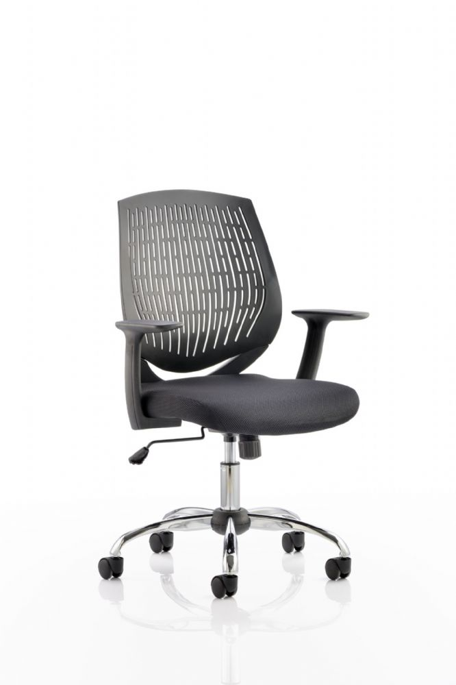 Dura Flexi Nylon Mesh Backrest Office Operator Chair Black Fabric Seat Arms Various Back Colours